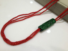 Long Coral Necklace With Htelongsen Multilayer 3MM  Red Coral For Women Jewelry Free Shipping