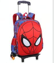3D Spider Men Boy's trolley Bag with wheel for shcool Kids Rolling Bags Children's Travel Trolley Bag on wheels Kid's Backpack