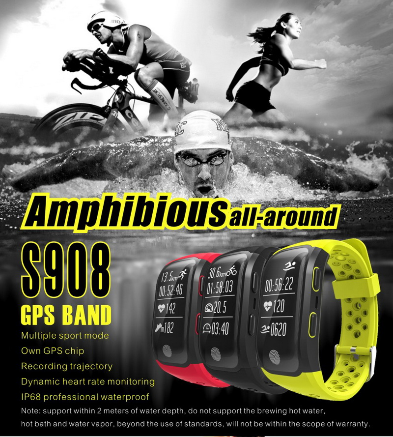 GPS Sports Smart Band IP68 Waterproof Swimming Wristband Bluetooth Heart Rate Monitor Fitness Tracker Measure Mileage S908 Watch 2