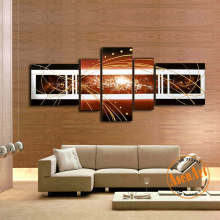 5pcs Canvas Art 100% Hand Painted Canvas Oil Painting Modern Abstract Brown Unframed Large Canvas Wall Painting for Living Room