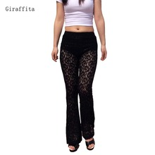Giraffita Women Sexy Lace Crochet Pants Women's Black Loose Perspective Hollow Out Print Flared Trousers Leggings Full Pants