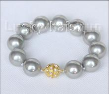 "Wholesale price New^^^8"" 16mm round gray seashell pearls Bracelet magnet clasp j10414"