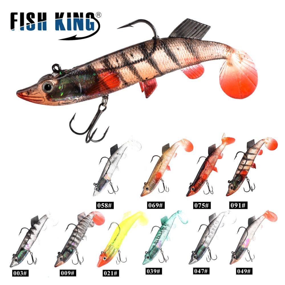 Soft Lure 1pcs 8cm//10cm//12cm//14cm Lead Head Fishing Lures Jig Fishing Lure Carp Fishing Bait with 2 Treble Hook Tackle