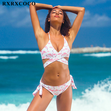 RXRXCOCO 2017 Hot Sexy Cross Brazilian Bikinis Women Swimwear Beach Bathing Suit Push Up Bikini Set Halter Top Bandage Swimsuits(China)
