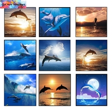 Full Square Mosaic Painting Dolphin Diy 5D Diamond Painting 3D Cross Stitch Kits Diamond Handmade Animal Embroidery Crafts