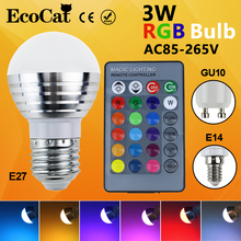 LED RGB Bulb LED E27 E14 GU10 lamp AC110V 220V 3W LED RGB Spot light dimmable magic Holiday RGB light+IR Remote Control16 colors(China)