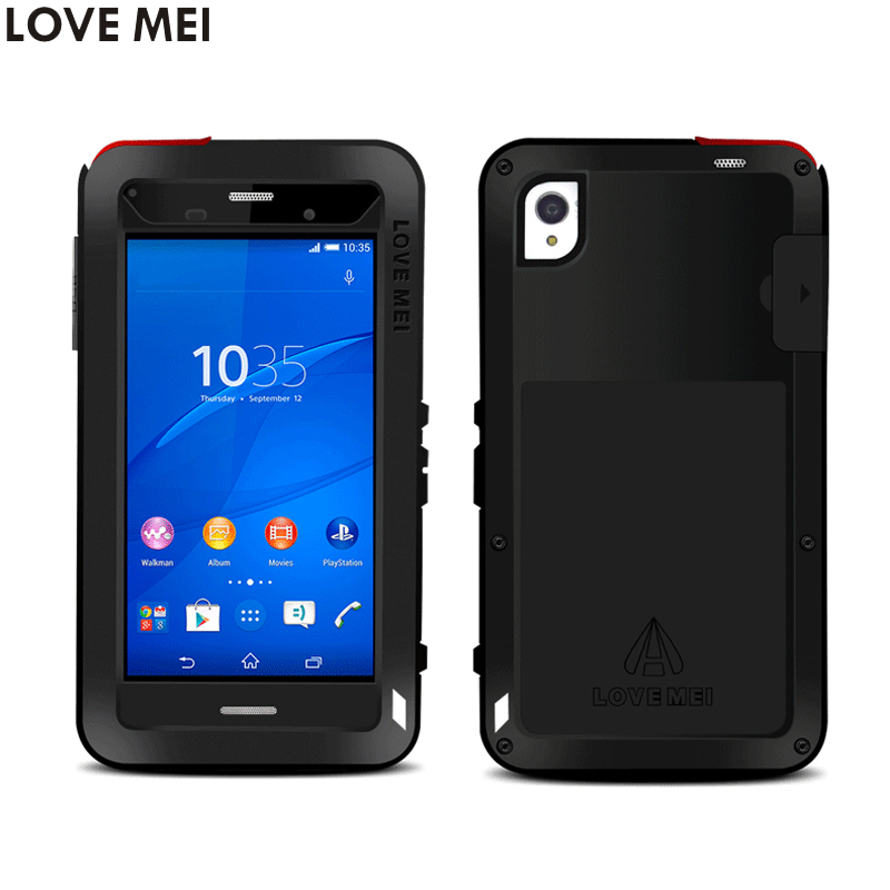 Sony Xperia Z3 Cover 5.2'' D6603 D6653 Waterproof Shockproof Case LOVE MEI Gorilla Toughened Glass Hard Aluminum Metal Cover