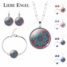 LIEBE ENGEL Charm Indian Jewelry Sets Mandala OM Symbol Buddhism Zen Vintage Silver Color Earrings Bracelet Necklace Women 2017(China)