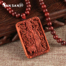 Genuine Blood Sandalwood Engraved Necklace Guan Yu Dragon Phoenix Pattern Pendant Necklace Jewelry For Woman Man(China)