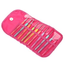 Set of 10 Aluminum Crochet Hooks Knitting Needles Multi Color Soft Plastic Grip Handle Weave Craft with Rose Bag PB-CK8101