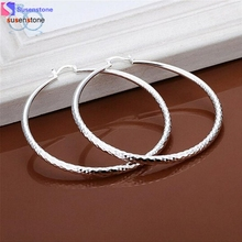 SUSENSTONE Fashion New Classic Design Solid Silver Big Hoop Earrings(China)