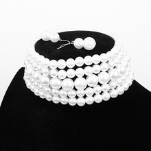 Yiwu Factory Wholesale 5 Row Cream / White / Red / Black / Grey  Pearl Necklace Choker For Women Jewelry With Earrings