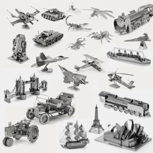 3D Metal Earth Puzzle Aircraft Fighter Vehicle Insect Famous Building Scale Model DIY Jigsaw Puzzles Nano Decoration Toys