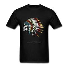 Men's T Shirts 100% Cotton Skull in Indian feathers Clothes Plus Size Comfortable Short Sleeve T-Shirt Men Custom Shirts(China)