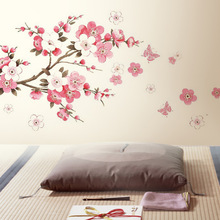 LP Pink flowers butterfly bathroom decor removable large wall stickers princess love room decoration wall poster mirror decals(China)
