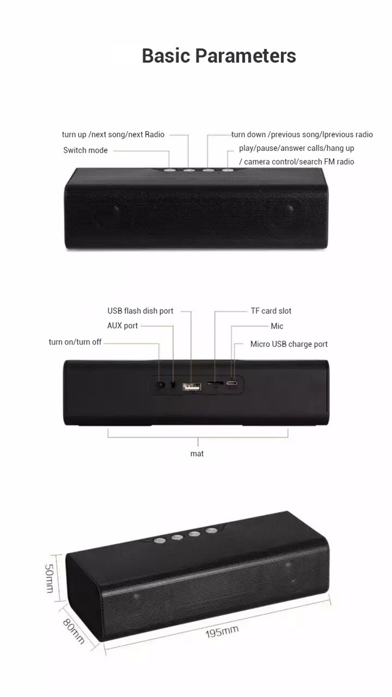 Thinyou Wireless Bluetooth Speaker Portable FM Radio Speakers Portable Audio MP3 Player With Power Bank For Phone Laptop