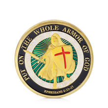 New 1PC Gold Plated Put on the Whole Armor of God Commemorative Challenge Coin Token Collection