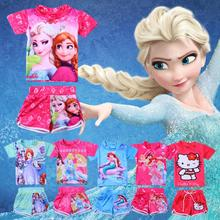 2016 Cute Kids Swimsuits Girls Swimwear Elsa Anna Baby T-shirt + Shorts 2pcs Children Girls Bathing Suit Hello Kitty Mermaid New