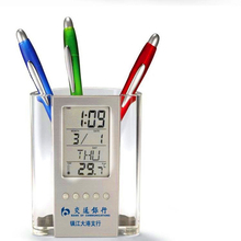 Digital LCD thermometer clock Desk thermometer Pen/Pencil Holder LCD Alarm Clock Thermometer Celsius Fahrenheit Display