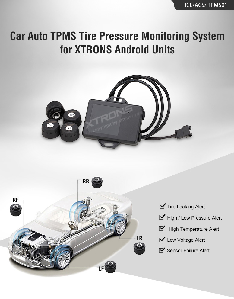 TPMS05 Car Tire Pressure Monitoring System 4 Interior Sensors For XTRONS Android