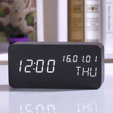 Cube Wooden Clock Digital LED Snooze Alarm Clock Kids Show Thermometer Date Wake up Desktop Light Clock With Time Projection
