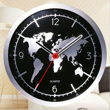 Round map design wall clock  high-grade aluminium alloy quartz  clock mute fashion decoration wall clock