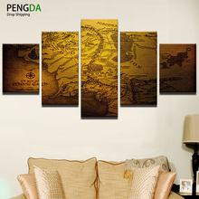 Modern Decor Canvas Painting Frame Home Bedroom Wall Art 5 Pieces Game Of Thrones Map Pictures HD Printed Modular Poster PENGDA