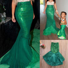 The Little Mermaid Ariel Princess Ladies Halloween cosplay Costume Fancy Party Sequins Maxi Tail long green dress for adult