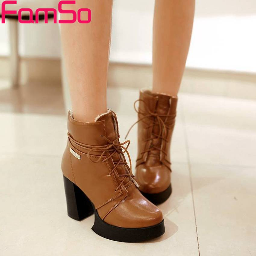 Plus Size34-43 2017 Sexy Women Platforms Pumps Lace-up High thick Heels Ankle Boots Winter Female Waterproof Snow Boots SBT1837<br><br>Aliexpress