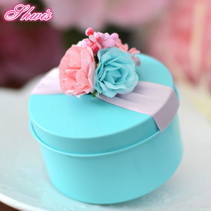 100pcs tin box creative wedding favor boxes baby shower gift favor box jewelery storage container decorative gift box blue - Decorative Gift Boxes