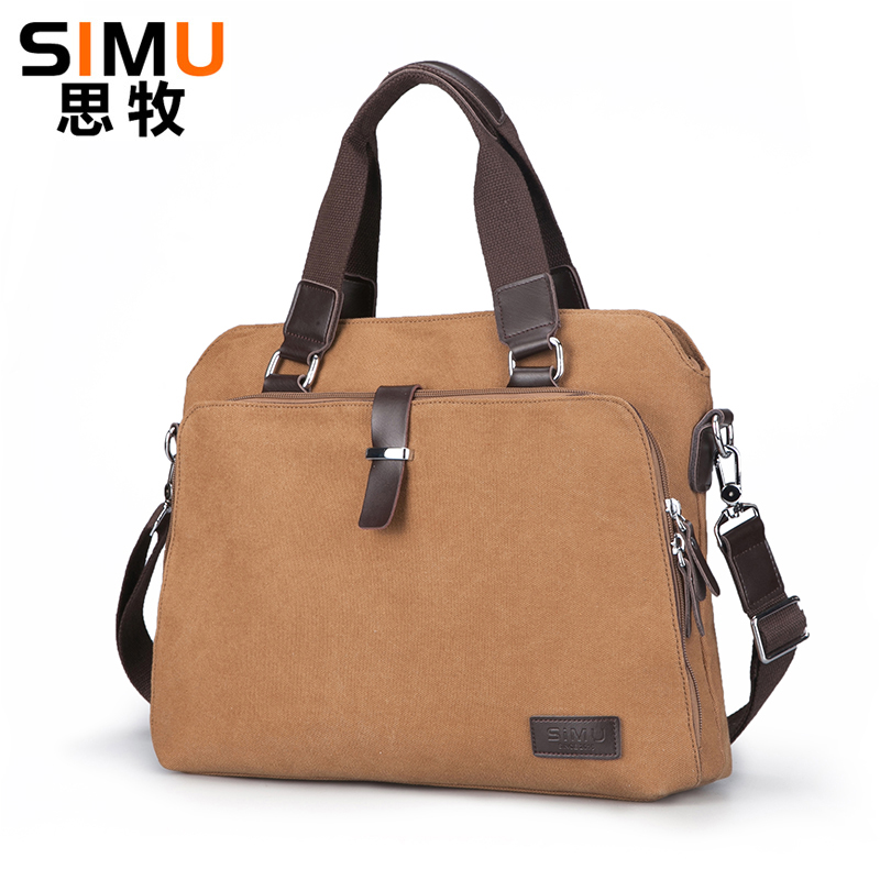 Vintage Mens Canvas Shoulder Bags with Strap Men Office Bag with Leather with Laptop compartment Casual Mens Handbag<br>