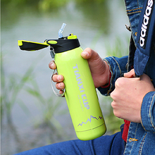 New My Portable 500ml Outdoor Sports Water Bottle Cycling Bike Bicycle Water Bottles Stainless Steel Material with Straw Lip Hot(China)