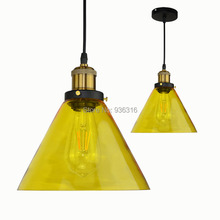 Blueking Modern Amber Glass Pendant Lamp American Style Loft Halling E27 LED Edison Art Decoration Coffee Shop pendant Light(China)