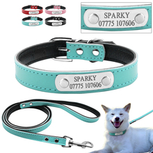 4 Colors Personalized Engraved Dog Collar Leash Set Customized Name Phone Metal Buckle Cat Puppy Pet  ID Collar XS S M