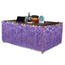 2018 Luau Hula Grass Table Skirt Picnic Tableware Decoration Hawaii Ball Tropical Party Supplies Christmas Navidad New Year(China)