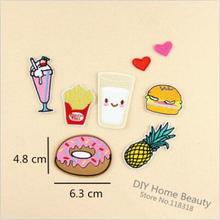 1 PCS Cake Milk parches Embroidered Iron on Patches for Clothing DIY Stripes Hamburg Clothes Stickers Custom Heart Badges @K