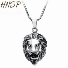 HNSP Fashion Punk Stainless Steel Link Chain Lion head Pendant Necklaces For Men Silver Color Male Animal Jewelry N001(China)