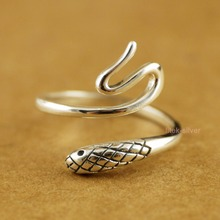 925 Sterling Silver Rock Biker Snake Above Knuckle Mid Pinkie Ring A3373(China)