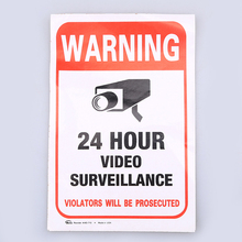 WHISM Waterproof Vinyl Warning Sticker Security Camera 24 Hour Video Surveillance Warning Decal Safety Sign Home Wall Decor(China)