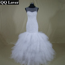 QQ Lover 2017 Luxury Full Beading Real Africa Fashion Vestido De Novia Sexy Lace up Wedding Dresses(China)