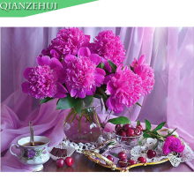 DIY Rhinestone plastic crafts painting diamond Purple vase fruit Square diamond painting cross stitch full diamond embroidery
