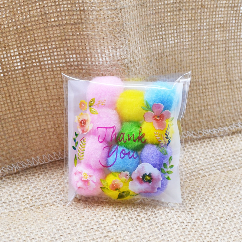50 100Pcs Plastic Bags Thank You CookieCandy Bag Self Adhesive For Wedding Birthday Party Gift Biscuit Baking Packaging