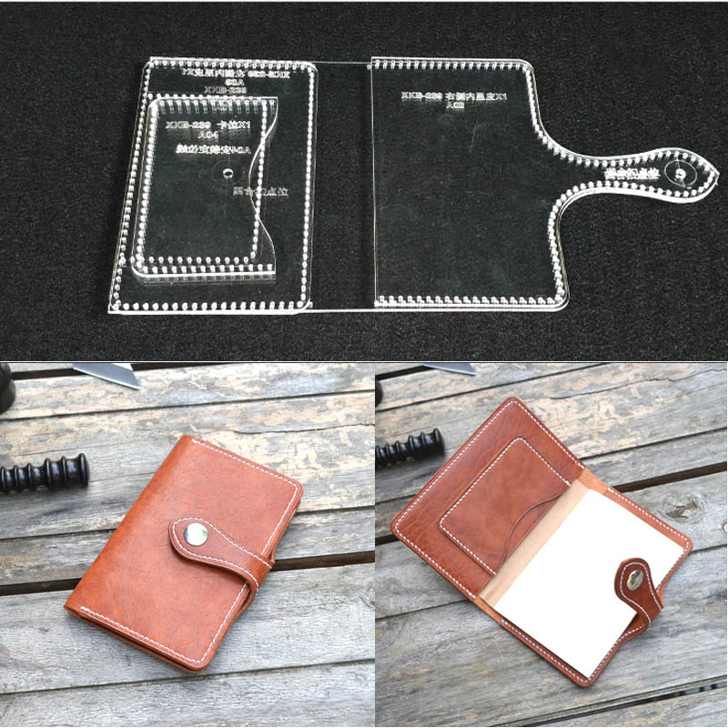 Transparent Acrylic Business Card Wallet Bag Drawings Stencil Template Leather Hand Craft DIY Tool Acrylic Templates