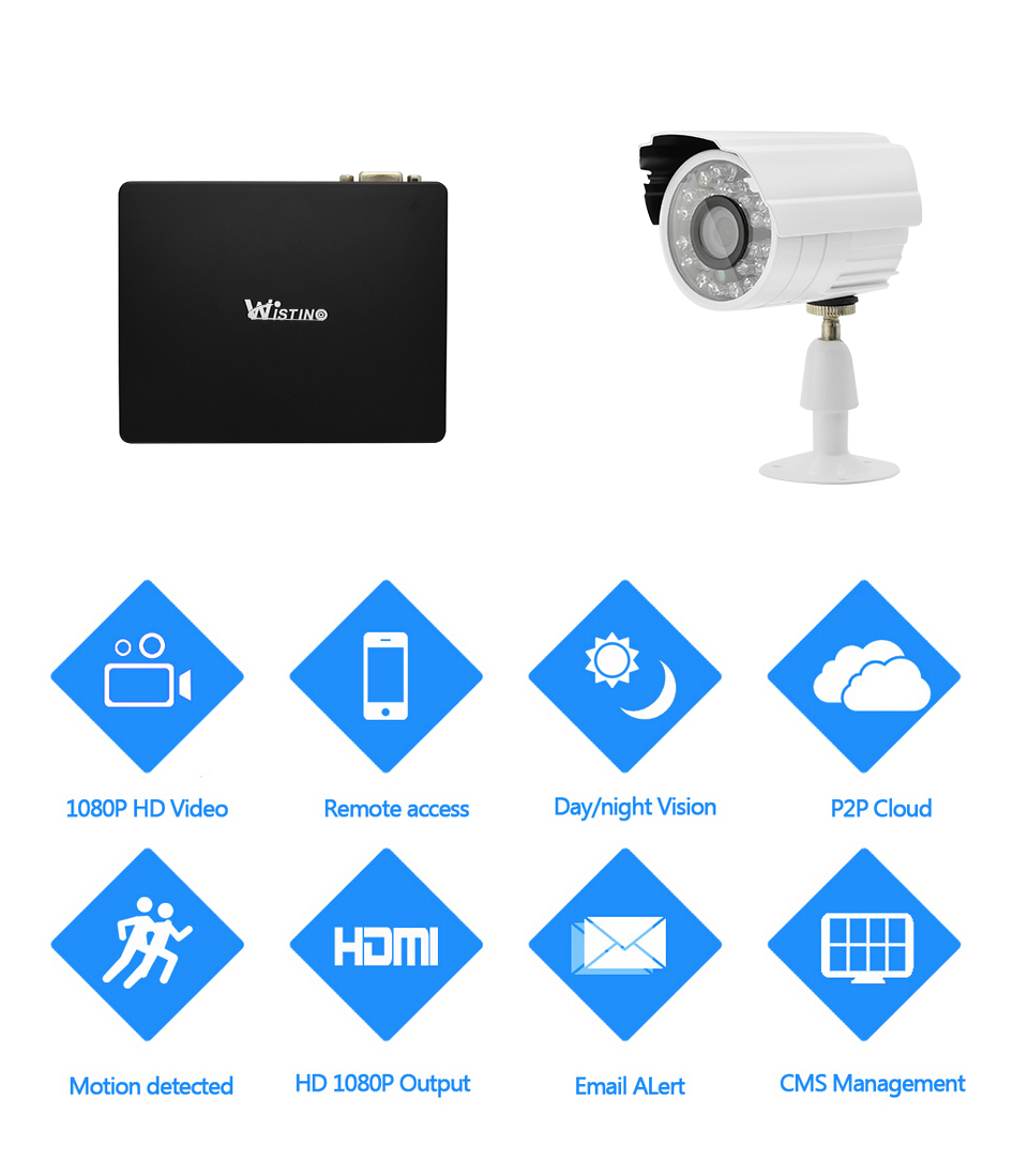 Wistino 1080P Mini AHD Camera Kits 4CH Digital Video Recorder DVR Kit CCTV Security Analog Camera Outdoor IR Video Surveillance (1)