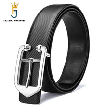FAJARINA Brand Name Men's Quality Cowhide Geometric Smooth Buckle White Belts for Men Genuine Leather Personality Design LUFJ643(China)