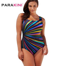 PARAKINI Plus Size Swimwear Female Polka Dot One Piece Swimsuit Women Retro Vintage Bathing Suits Large Size One-Piece Monokini