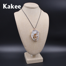Kakee Top Grade Irregular Agates Pendant Natural Druzy Gem Stone Crystal Quartz Necklace Choker Women Collier Fashion Jewelry(China)