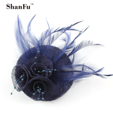 ShanFu Sinamy Flower Fascinators Feather Hair Accessories with Beading Wedding Party Hair Clip SFB6670 12pcs/lot(China)
