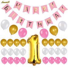Amawill First Birthday Decoration Happy Birthday Bunting Banner Gold Number One Balloon White Pink Balloons for 1st Bday Party(China)
