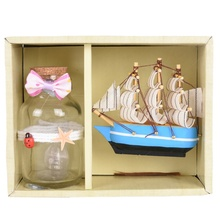 Birthday Gifts Mediterranean Sailing Boat & Blinking Wishing Bottle With lights For Home Hotel Showcase Decoration Wedding Party(China)
